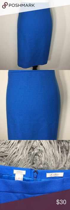 J Crew Wool No. 2 Pencil Skirt Gorgeous blue color. Excellent Condition! Fully lined. J. Crew Skirts Pencil