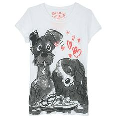 Lady and the Tramp Tee ($15) ❤ liked on Polyvore featuring tops, t-shirts, tees, shirts, blusas, characters, white graphic tees, white cotton shirt, white tee and graphic design t shirts