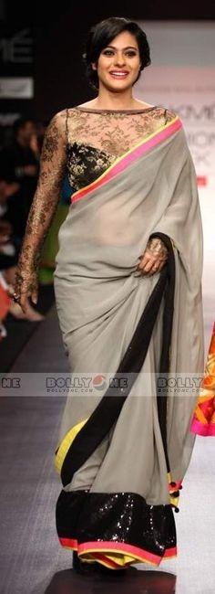 Kajol in Black Grey #saree #sari #blouse #indian #outfit #shaadi #bridal #fashion #style #desi #designer #wedding #gorgeous #beautiful