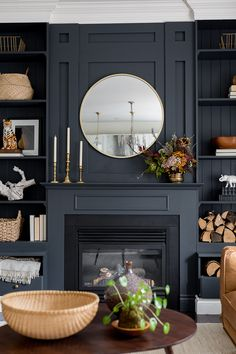Welcome to my favourite room in our home! Fireplace Remodel, Fall Living Room Decor, Family Room, Charcoal Living Rooms, Black Accent Walls, Living Room Wall, Family Room Fireplace, Black Living Room, Interior Design