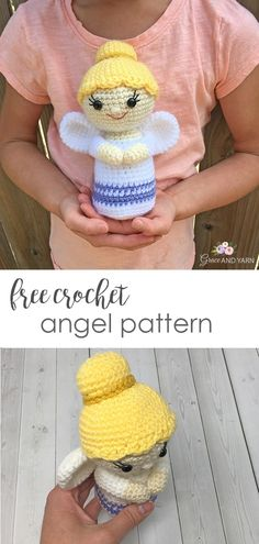Free Crochet Mini Angel Pattern Quick and easy free crochet angel pattern – Grace and Yarn Crochet Angel Pattern, Crochet Angels, Crochet Patterns Amigurumi, Crochet Dolls, Crochet Yarn, Free Crochet, Kids Crochet, Crochet Ornaments, Christmas Crochet Patterns