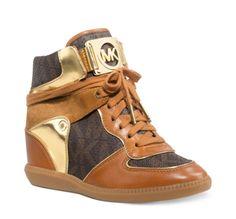 dfb4eade910401 Michael Kors Women s Brown High-Top Athletic Sneaker Heel Wedge Shoes at  ShopFashionDesigner