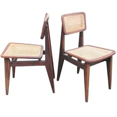 Set of Six Oak and Caned Chairs by Marcel Gascoin | From a unique collection of antique and modern chairs at http://www.1stdibs.com/furniture/seating/chairs/