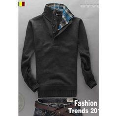 Men Fashion Long Sleeve Pattern Dark Grey Knitting Sweater... ($30) via Polyvore