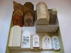 Turn old books into tags for crafting. These would make great tags for a craft fair booth.