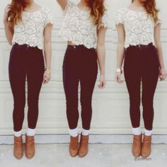 I really love the pairing of high waisted pants or leggings with a cropped shirt. It's really cute in my opinion.