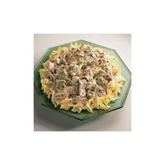 I love beef stroganoff! This recipe is super easy and tastes so good. I add a little worchestire sauce to the meat while it's cooking to give it a nice flavor. And I thin the sauce out by adding milk.