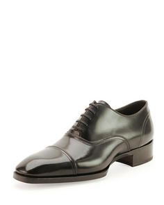 Gianni Cap-Toe Lace-Up Shoe, Black by Tom Ford at Neiman Marcus.