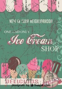 Retro Ice Cream Shop Poster Design
