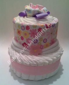 Gorgeous Modern Design Diaper Cakes many colors and by #BabyFavorsAndGifts #diapercakes #BabyShowerGifts