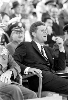 "thekennedyclan: ""JFK is amused (JFK visits the University of North Carolina and Fort Bragg, 1961) "" Awesome pics!"