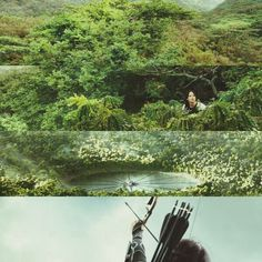 PERFECTION. In the bottom one she must be shooting the arrow into the forcefeild at the end.