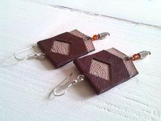 Handmade leather earrings, Genuine leather, Fire Agate Stone, Tibetan silver