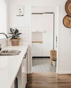 Forbes Encaustic Look Black Tile Coastal Bedrooms, Coastal Living Rooms, Bathroom Floor Tiles, Laundry In Bathroom, Laundry Rooms, Black Tiles, Swedish Design, Tile Patterns, Tile Design