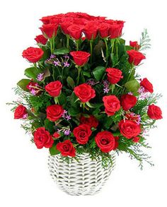 52 red roses be arranged in a flower basket., match greenery and flowers