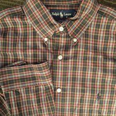 Men Ralph Lauren Yarmouth Green Red Blue Plaid Large 16 34/35 Shirt Polo #RalphLauren #ButtonFront