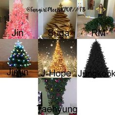 BTS members as Christmas Trees XD