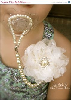 4-in-1 Beaded Pacifier Holder -Shabby Chic Ivory Flower with Oval Pearl Center