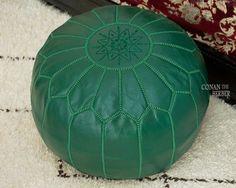 Moroccan Ottoman Pouf Green
