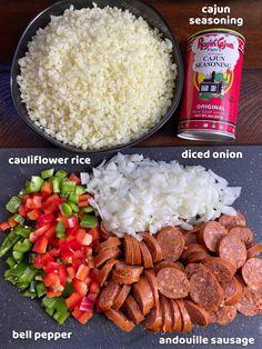 French Delicacies Essentials - Some Uncomplicated Strategies For Newbies Cajun Cauliflower Rice Easy Keto Dinner Recipe Low Carb Recipes, Cooking Recipes, Healthy Recipes, Pork Recipes, Vegetarian Recipes, Recipies, Planning Menu, Comida Keto, Keto Dinner