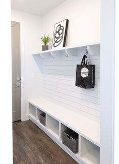 Contemporary mudroom with Ikea Kallax shelf Mudroom Bench IKEA kallax with Mudroom shelf more contemporary - - Ikea Kallax Shelf, Ikea Kallax Regal, Ikea Kallax Hack, Ikea Malm, Home Renovation, Home Remodeling, Mudroom Laundry Room, Mudroom Shelf, Ikea Mudroom Ideas