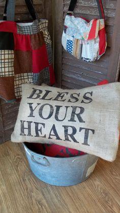 burlap pillow - bless your heart