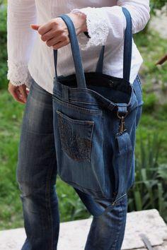 Recycled denim bag, Code Denim 02, Unisex bag, casual denim bag, upcycled denim…
