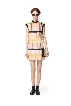 Pleated shift dress in blush stripes (black belt included but not shown), $39.99 Woven mini saddle bag in cream (available at Target.com only), $24.99