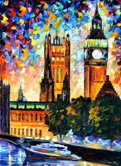 Big Ben, London 2 — Palette Knife Uk Cityscape Wall Art Oil Painting On Canvas…