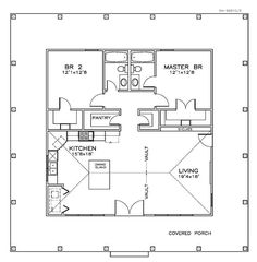 First Floor Plan of Cottage Florida Southern House Plan 57895 2 Bedroom House Plans, Small House Floor Plans, Southern House Plans, Cabin Plans, House Layouts, Cottage Homes, Cottage Style, Planer, How To Plan