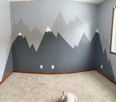 Our Mountain Nursery Reveal Baby Boy Room Decor, Baby Room Design, Baby Bedroom, Baby Boy Rooms, Nursery Room, Kids Bedroom, Grey Nursery Boy, Nursery Wall Murals, Nursery Design