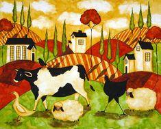 Hubbs Children Art Folk Prints Farm Animals Cow Sheep Goose ...