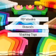 Homemade Wooden DIY Stacker Toys - MamaMeganAllysa My DIY stacker toys were based of the basic elements you find in nature, making them easy to work into lots of different play set ups! Design Tape, Diys, Diy Wood Stain, Diy Kids Furniture, Stacking Toys, Homemade Toys, Toddler Toys, Baby Toys, Wood Toys