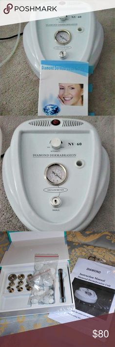 PROFESSIONAL MICRO DERMABRASION MACHINE Do you like going in for Micro Dermabrasion treatments with your dermatologist or spa?  This is a professional Diamond Microdermabrasion machine with different diamond head vacumn tips. (This is not the same as the crystals... not as messy! If you are curious Google  it =)  It has only been used 1-2 times.  It will refine skin texture, minimize pores, and promote collagen production. For use on face, neck, hands, chest. It comes with all parts…