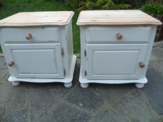 2 x Shabby Chic Solid Pine Bedside Cabinets - Annie Sloan White Chalk Paint