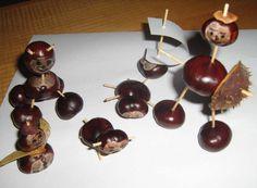 more chestnut figures Leaf Art, Interior Design Living Room, Kitchen Decor, Fruit, Kids, Crafts, Kid Stuff, Food, Craft Ideas