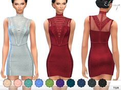 Romantic dress with lace inserts and trim. High neck. Sleeveless. 12 different colors. Custom mesh by me.  Found in TSR Category 'Sims 4 Female Everyday'