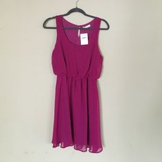 LUSH dress Magenta, cinches at the natural waist, scoop neck and flowy. Never been worn, NWT! Lush Dresses Midi