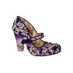 NEW IRREGULAR CHOICE *SECRET PAIR* PINK/PURPLE FLORAL PATTERN LUCITE HEELS | eBay