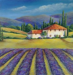 New - LAVENDER FIELDS, A Fine Art Acrylic Painting from the south of France