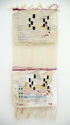 E by	Ingrid Wiener (Austrian, b.1942)/MATERIALS: Tapestry, wool, cotton, silk, 78x58, original (pencil on paper, 14,5x10) and model for weaving the tapestry (foil, marker, computer prints, brown paper, 86x69,5)