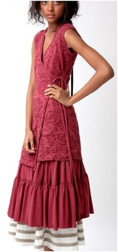Embroidered wrap dress in cranberry, over 2 skirts, by Alabama Chanin (Spring/Summer 2010 collection)