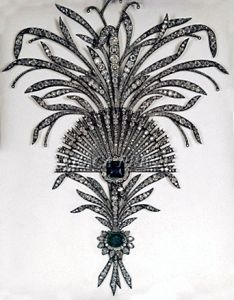 The Imperial crown jewels of Iran is are considered to be the largest jewelry collection in the world. Pictured is a diamond and emerald aigrette, which decorates a woman's headdress, set in silver.