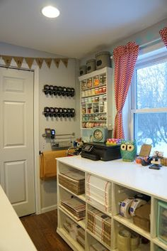 The little Green Bean Craft Room Tour Sewing Room Organization, Craft Room Storage, Craft Rooms, Studio Organization, Fabric Storage, Organization Ideas, Sewing Spaces, Sewing Rooms, Craft Room Design