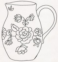 Pitcher w Roses on it Stress Coloring Book, Coloring Books, Thread Painting, Fabric Painting, Hand Embroidery Patterns, Cross Stitch Embroidery, Paisley Flower Tattoos, Teacup Tattoo, Printable Flower Coloring Pages