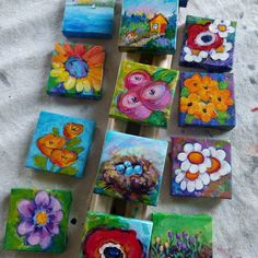 A new garden of #miniaturepaintings ...Having a blast filling my  space with paintings for spring!  #miniaturepainting #garden #gardenart #colorfulart #joyfulart #happyartist #happyart #flowergarden #flowers #etsy #etsyseller #etsyartist #2x2painting #vivid colors##vibrantart #impressionistic #bookshelfart #artgifts #peggyjohnson #everygoodcolor #mothersdaygift #mayflowers #mothersday