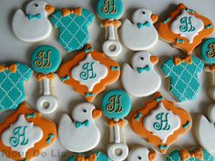 2 Dozen Tiffany and Orange Baby Shower Cookies by FlourDeLisShop Baby Boy Cupcakes, Cupcakes For Boys, Baby Cookies, Baby Shower Cookies, Iced Cookies, Cute Cookies, Cupcake Cookies, Sugar Cookies, Cookie Frosting
