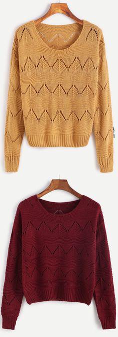 Drop Shoulder Eyelet Sweater