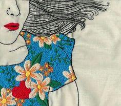 Rosto de mulher bordado
