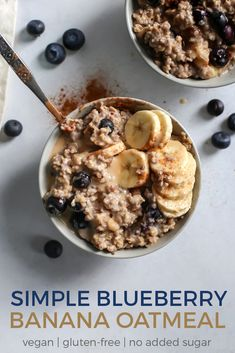 This Blueberry Banana Oatmeal is too good not to share! It\'s been on repeat lately and so simple too. Made on the stovetop for the best texture. Gluten-free, vegan-friendly and no added sugars. Top with coconut butter for a little extra sweetness.